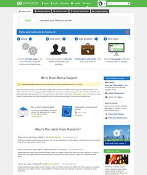 Screenshot of MANTA admin homepage